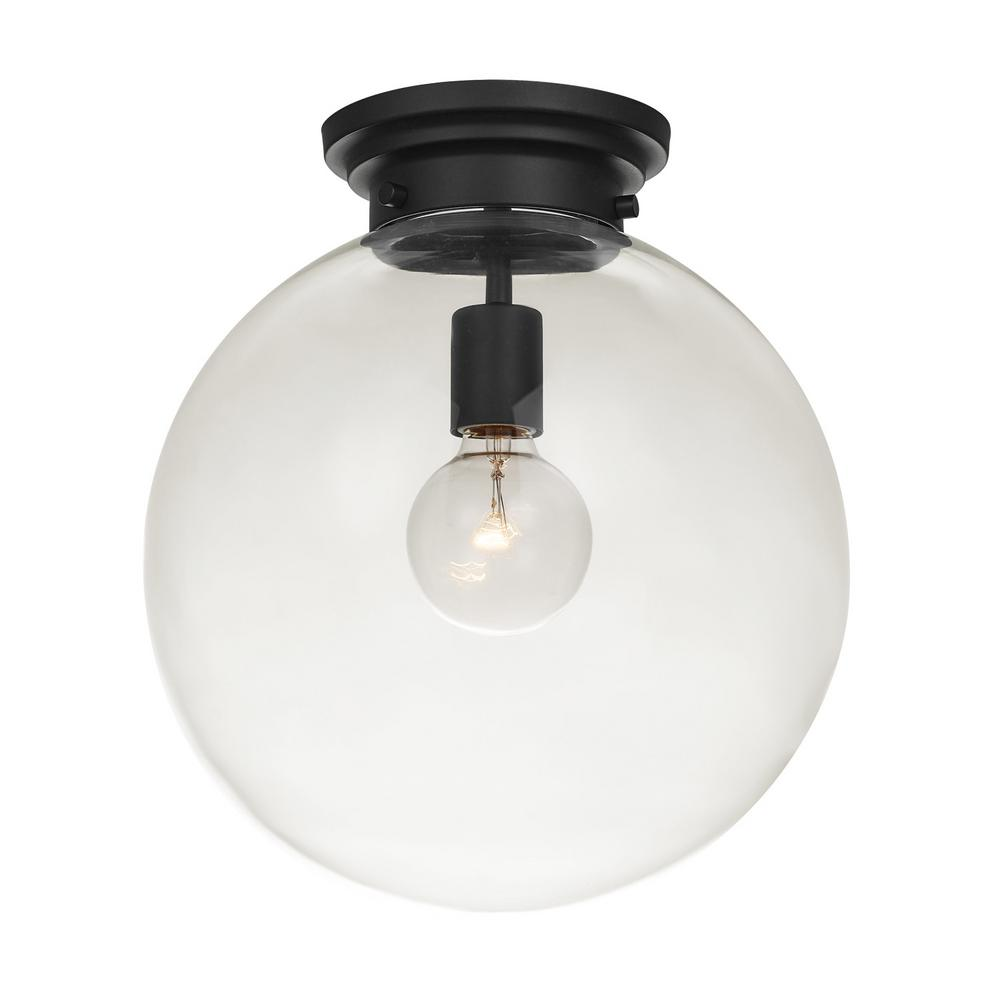 Globe Electric Portland 1 Light Black Semi Flush Mount 65954 The Home Depot Semi Flush Mount Lighting Flush Mount Ceiling Lights Flush Mount Lighting