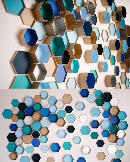 Geometric Three Dimensional Wall Art Photo Backdrop Blue Black