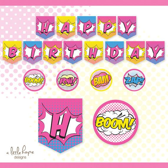 Superhero Girl Happy Birthday Banner Sign By PartiPartieParty