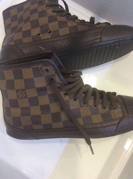 9d9d86e1e99 Louis Vuitton-Damier Ebene Sneaker Brown HIGH-TOP mannen opleiders in  Damier Ebene gecoat