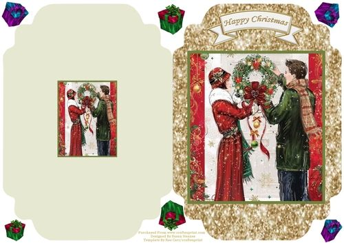 Hanging The Christmas Wreath - Cut And Fold Card #goldglitterbackground