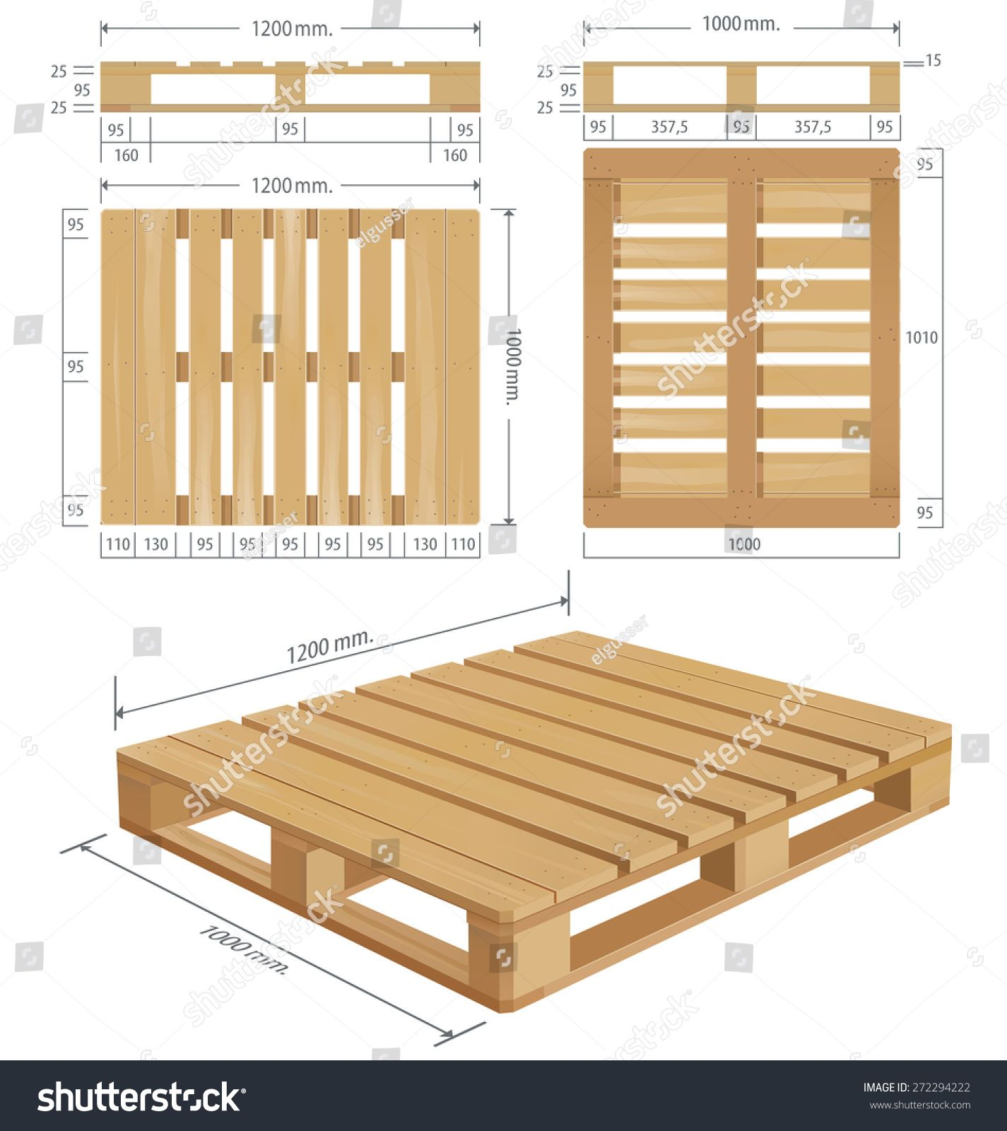 American Wooden Pallet In Perspective Front And Side View With Dimensions Wood Pallet Dimensions Pallet Dimensions Pallet Patio Furniture