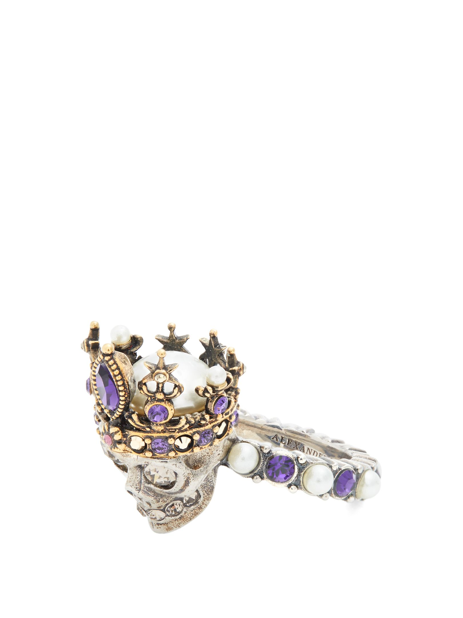 Skull faux pearl and crystal-embellished ring Alexander McQueen poRAFB