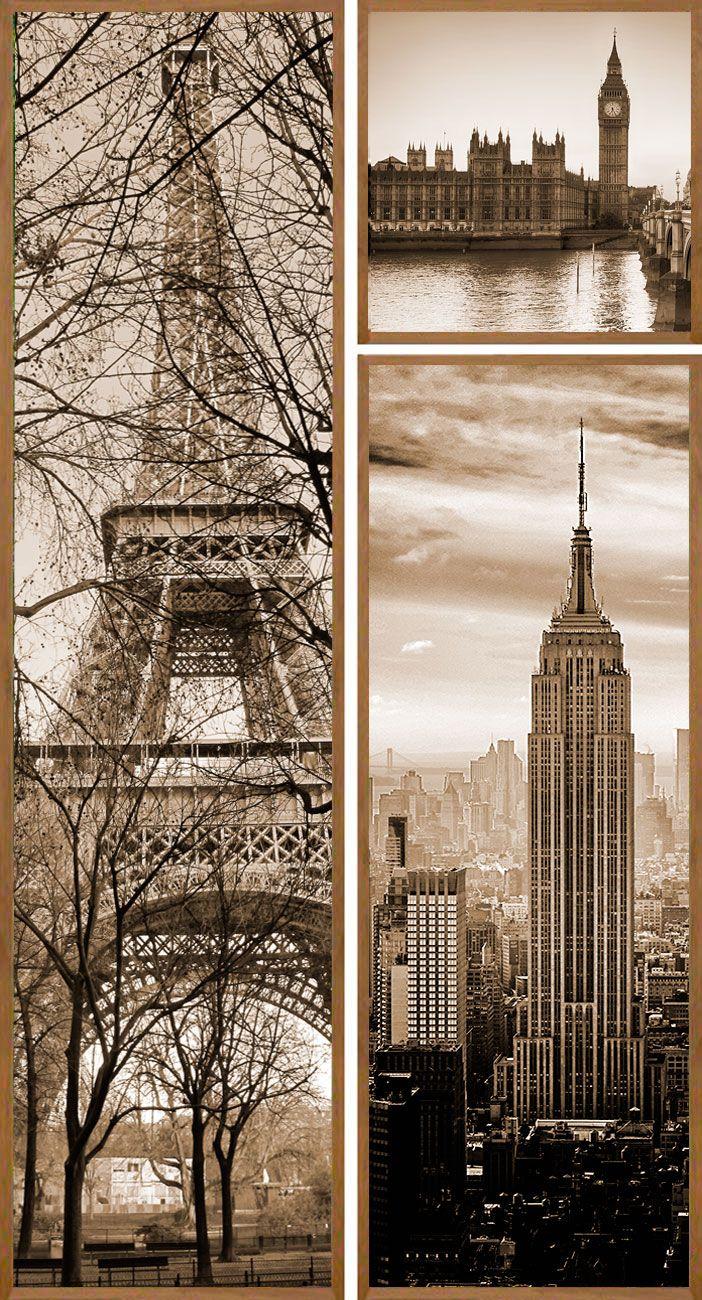 trio de quadros decorativos cidades paris new york e londres 108x203cm kit com 3 quadros. Black Bedroom Furniture Sets. Home Design Ideas