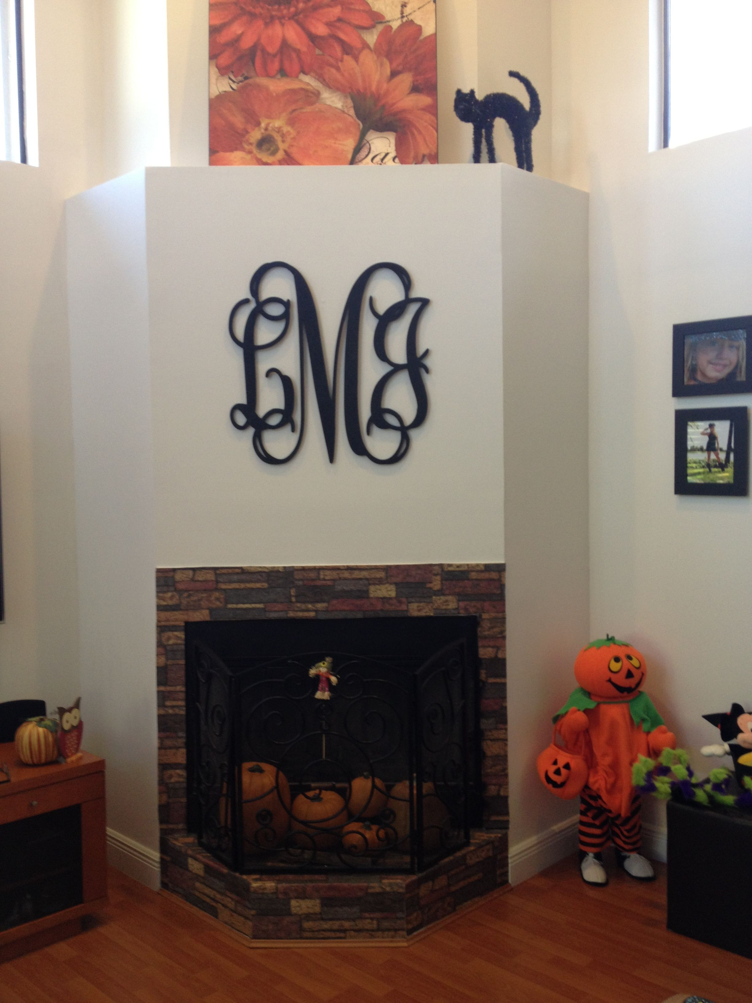 Monogram Family Initials Over Fireplace