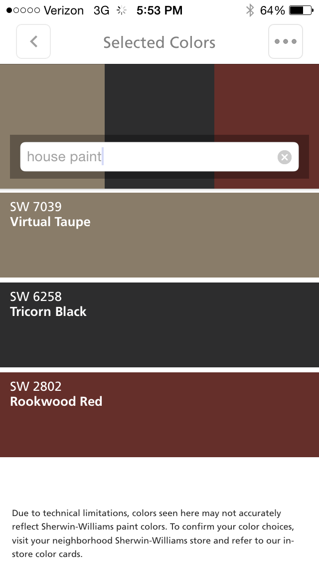 House Virtual Taupe Trim White Shutters Tricorn Black Doors Rockwood Red House Paint