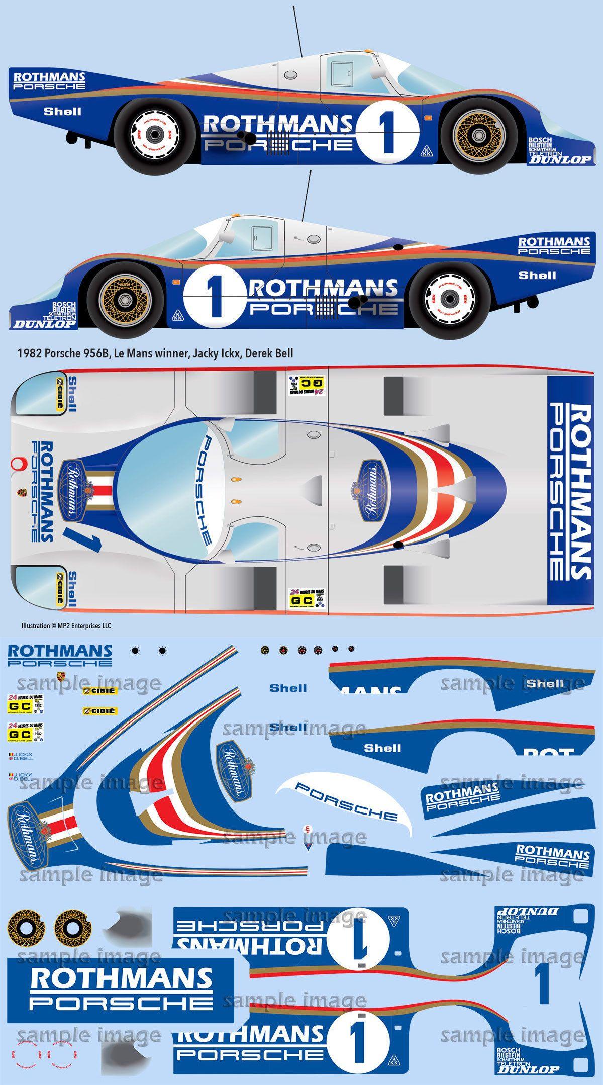1982 Rothmans Porsche 956 Lemans Winner 1 24 Scale Decals For Tamiya Porsche Paper Model Car Le Mans [ 2158 x 1200 Pixel ]