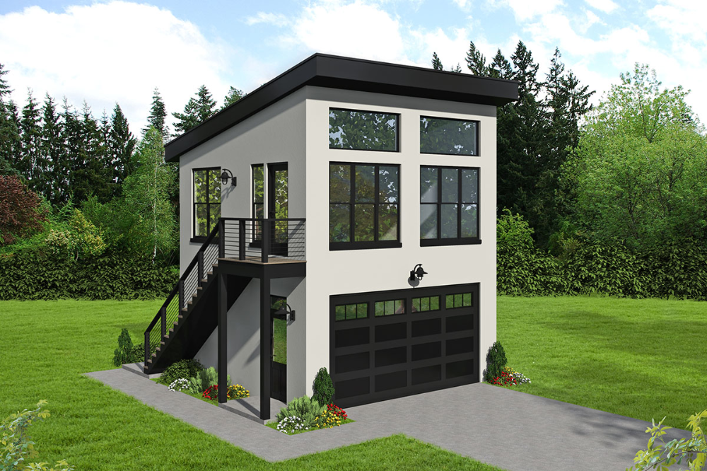 Plan 68667vr Man Cave With Parking Below Garage Plans With Loft Contemporary House Plans Loft Plan