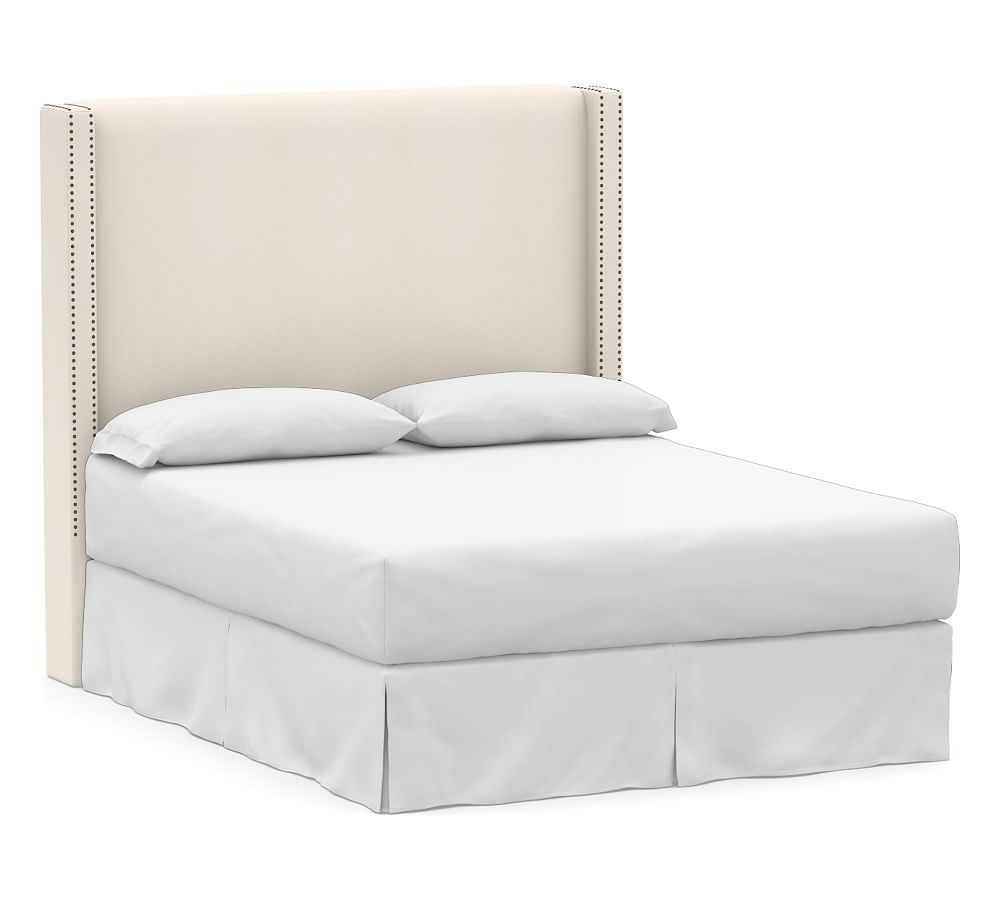 Harper Upholstered Tall Headboard California King Twill Cream At Pottery Barn Tall Headboard Headboards For Beds Upholstered Beds