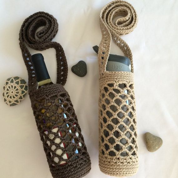 Crochet Water bottle Holder with crossbody strap - Water Bottle Bag - Vegan - Yoga - hiking gear - f...