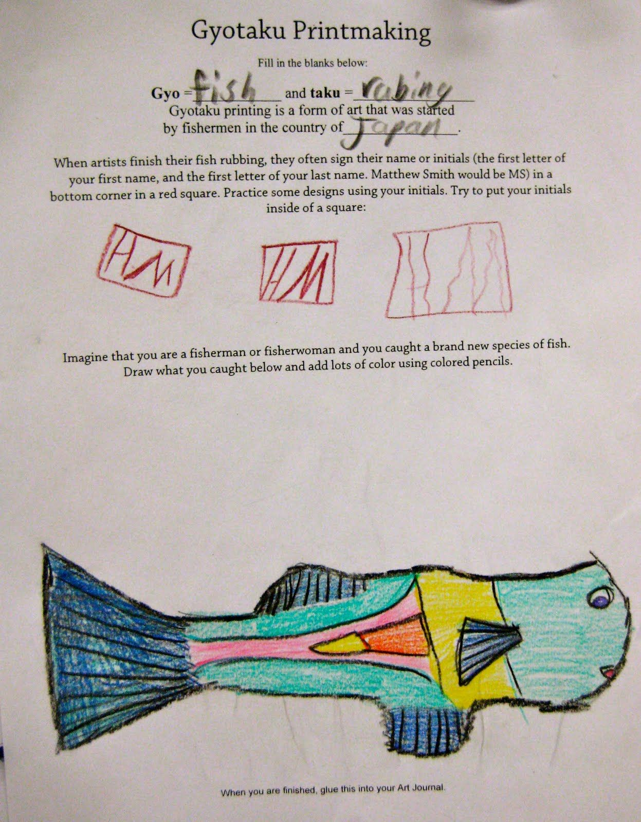 Gyotaku worksheet   COLLECTION Fish   Pinterest   Worksheets Gyotaku worksheet