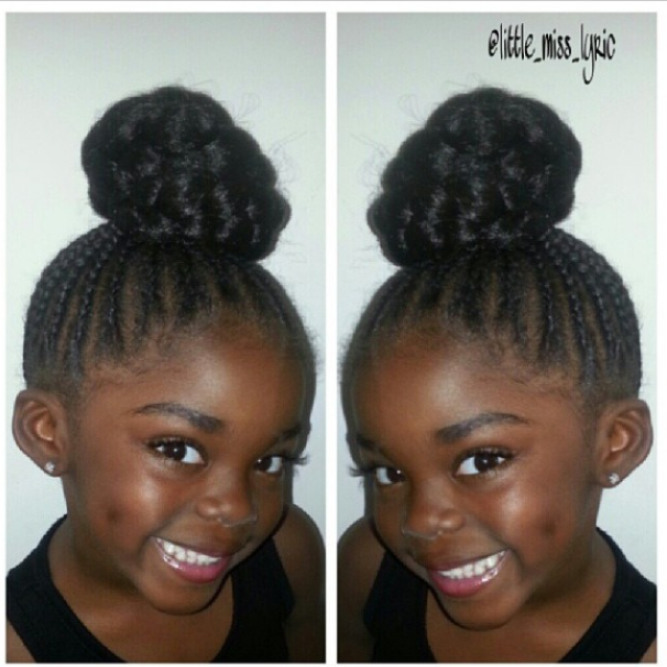 Rows Braided Top Knot Black Kids Hairstyles Cute Hairstyles For Kids Natural Hair Styles