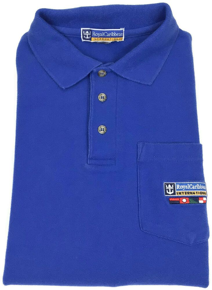 Royal Caribbean Polo Shirt Medium Mens Short Sleeve Pique