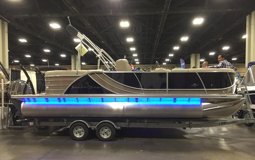 Super Cool Pontoon Boat With Blue Neon Lighting How Cool Will This Look Cruising On A Lake At Night Find Out All About My Day At Th Boat Pontoon Boat Pontoon