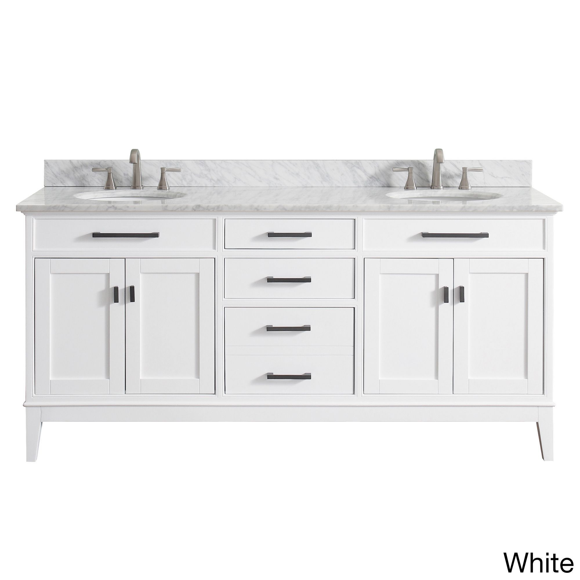 Avanity Madison 73 Inch Double Sink Vanity Combo In White With Top