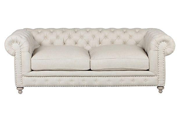 Finn Linen Sofa, Cream on OneKingsLane.com