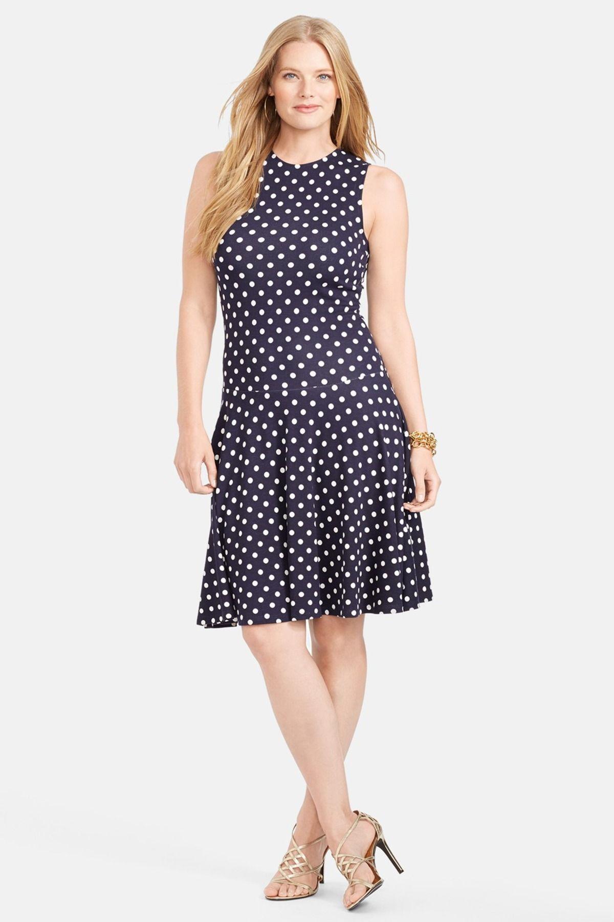 Lauren Ralph Lauren Polka Dot Drop Waist Dress Plus Size Drop
