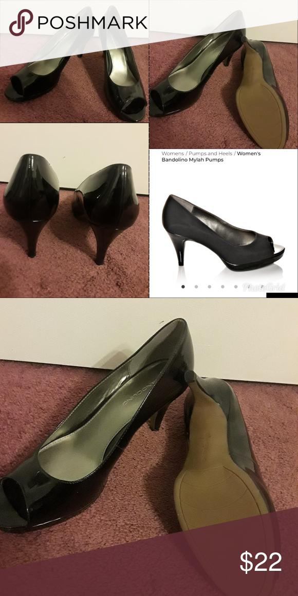 dae699f6b7 Never Worn Bandolino Peep Toe Heels 10W NEW, never worn (no box) 3 inch heel  and Patent faux leather Slip-on design 1/2 inch platform Smooth lining  Textured ...