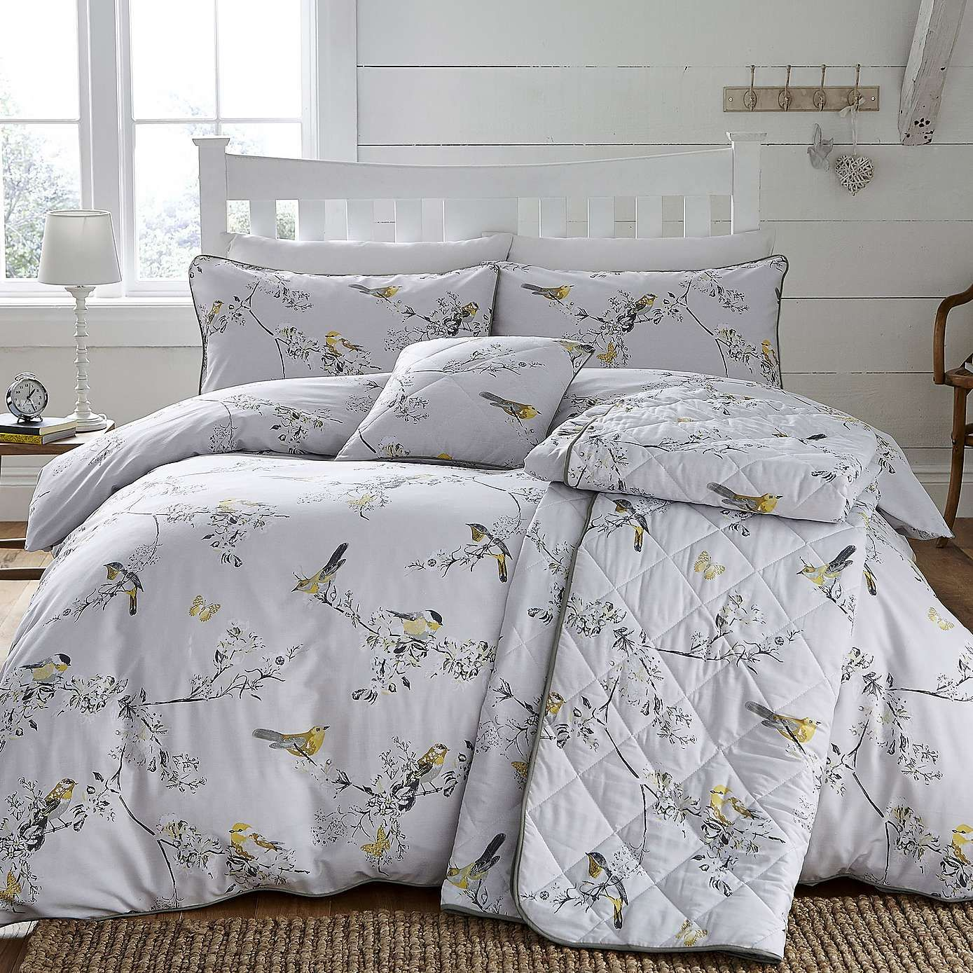 beautiful birds ochre duvet cover and pillowcase set. Black Bedroom Furniture Sets. Home Design Ideas