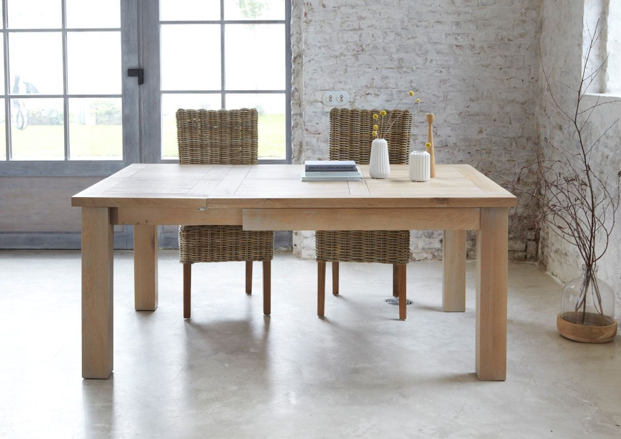Table Extensible Carree Chene Naturel Sable Toronto 125x125 Table Extensible Table Chene