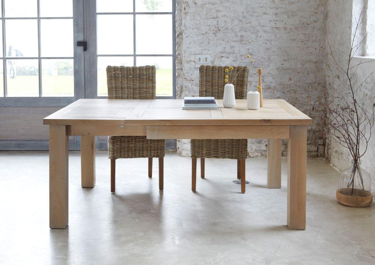 chêne Toronto 125x125 extensible sablé carrée naturel Table XnP08wOk