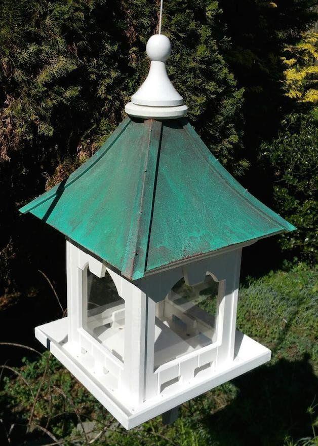 Pin On Copper Roof Birdhouse Bird Feeder