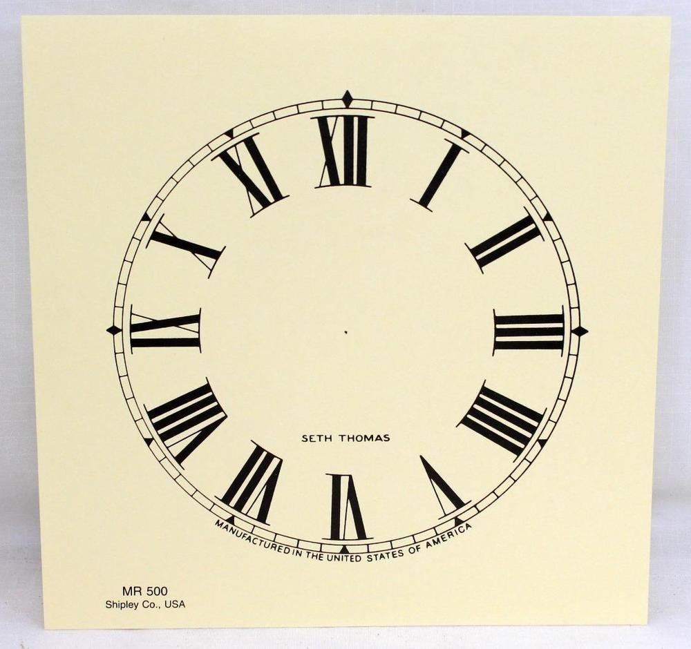 Seth Thomas Clock Co Paper Clock Face Dial Shipley Co Usa Mr 500 5 Paper Clock Clock Clock Face