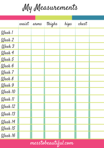 My Measurements Chart Weight Loss Tracker Free Printable