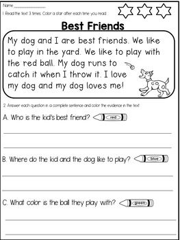 First Grade Reading Comprehension Passages And Questions Mega