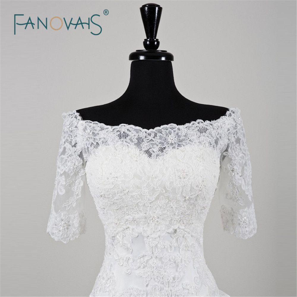 Click to buy ucuc white or ivory simple lace wedding jacket high new