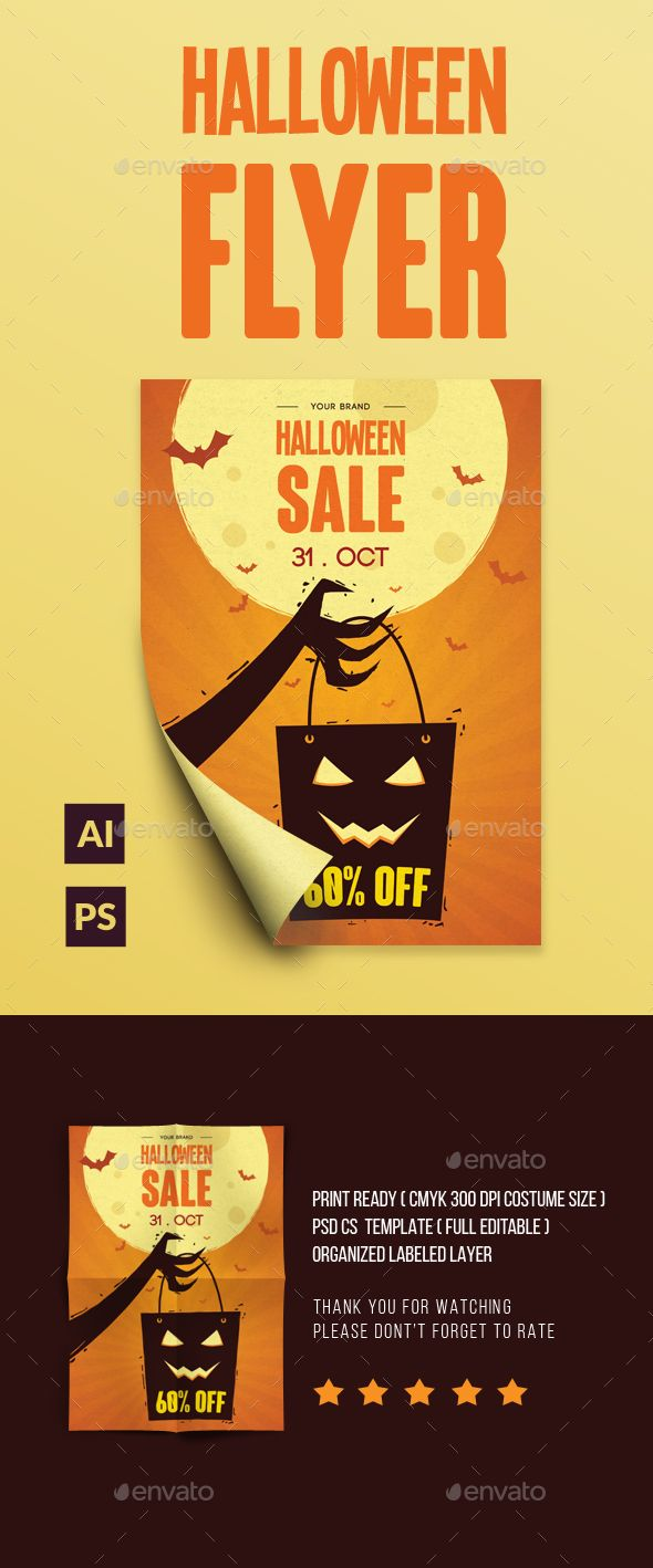 halloween sale flyer template psd ai illustrator