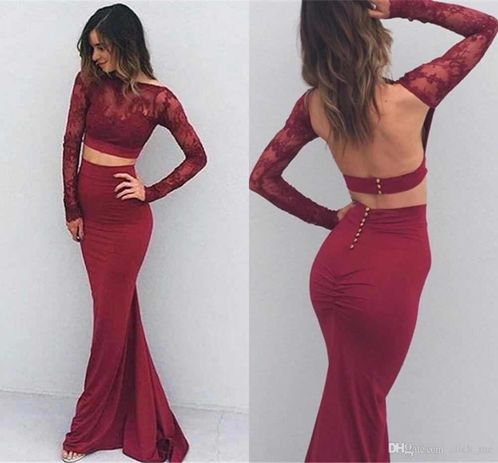 Sexy long sleeves burgundy mermaid long prom dress with open back