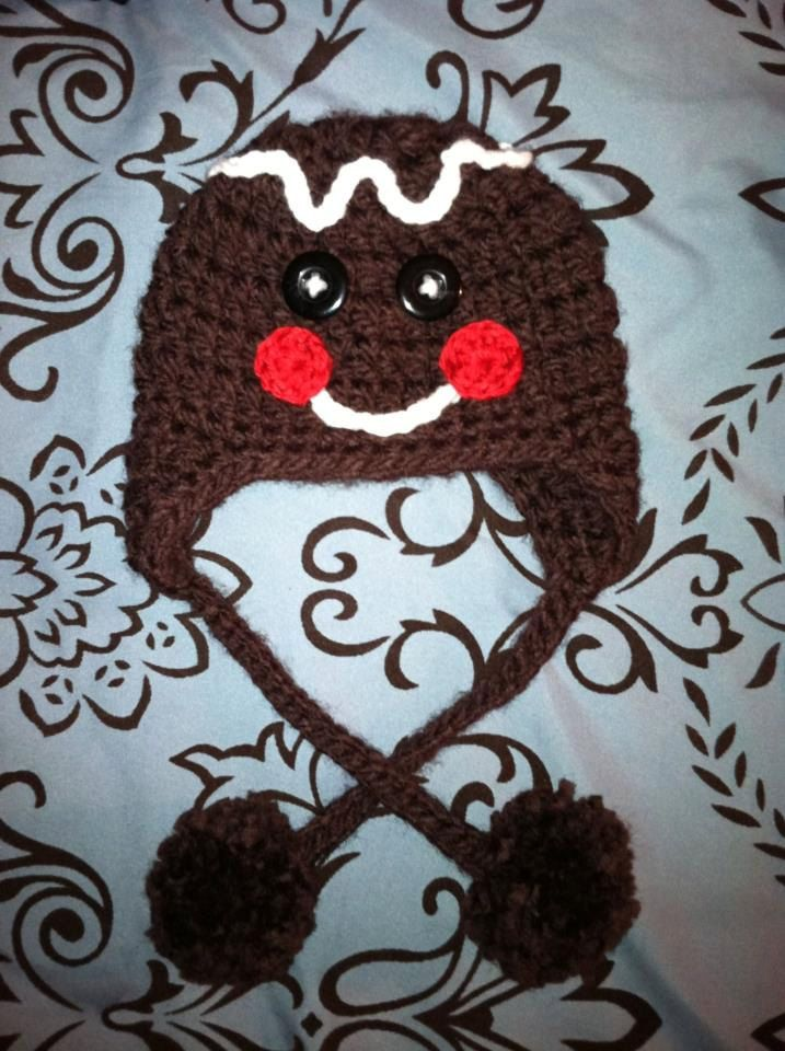 Crocheted Gingerbread Man hat with Earflaps. $16.00, via Etsy.