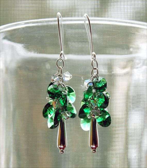 Hey, I found this really awesome Etsy listing at https://www.etsy.com/listing/222983605/emerald-green-swarovski-earrings-green