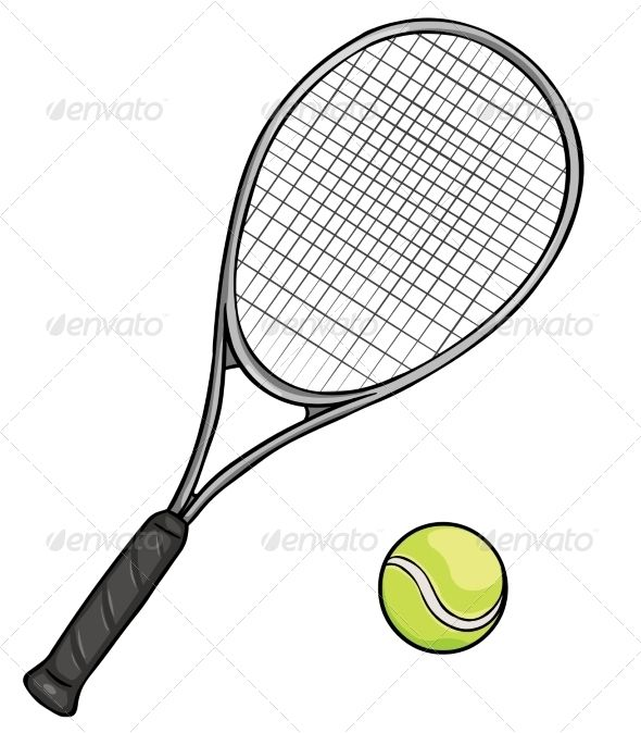Cartoon Tennis Racket And Ball Tennis Racket Rackets Tennis