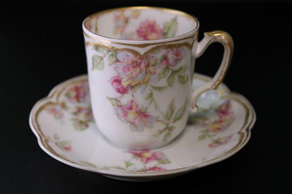 Limoges Schleiger 39 France Tea Cup /& Saucer Pink Roses French Haviland /& Co