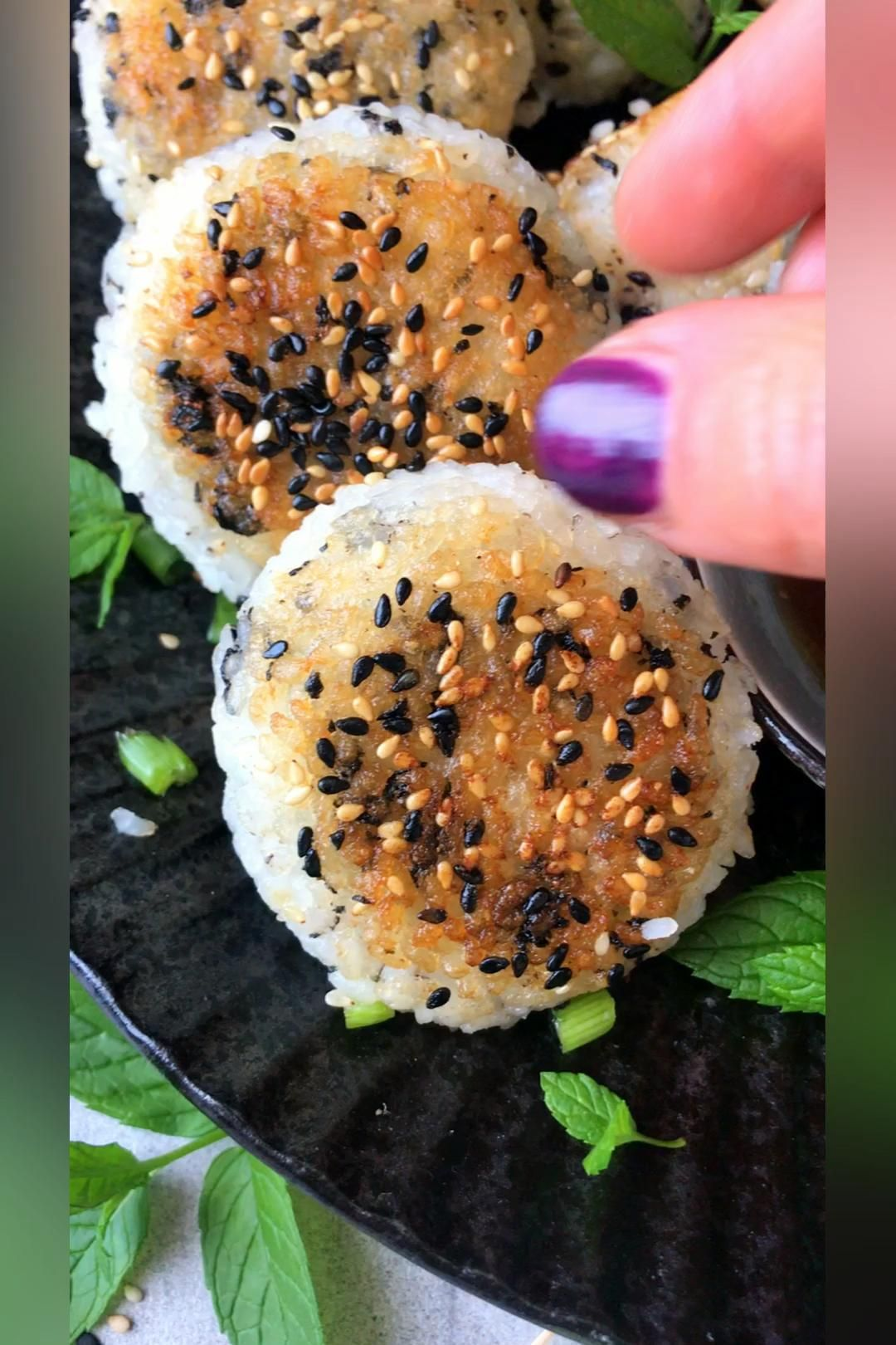 Japanese Yaki Onigiri - Crispy grilled rice balls