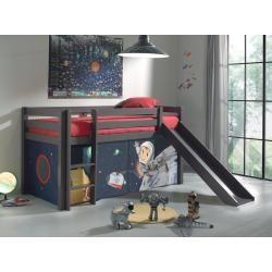 Halbhochbett Pino Taupe Massiv Spaceman Rutsche Und