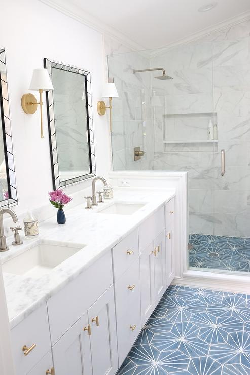 White And Gold Bathroom With Blue Cement Tile Floor Transitional Bathroom In 2020 Bathrooms Remodel Bathroom Flooring Pretty Bathrooms