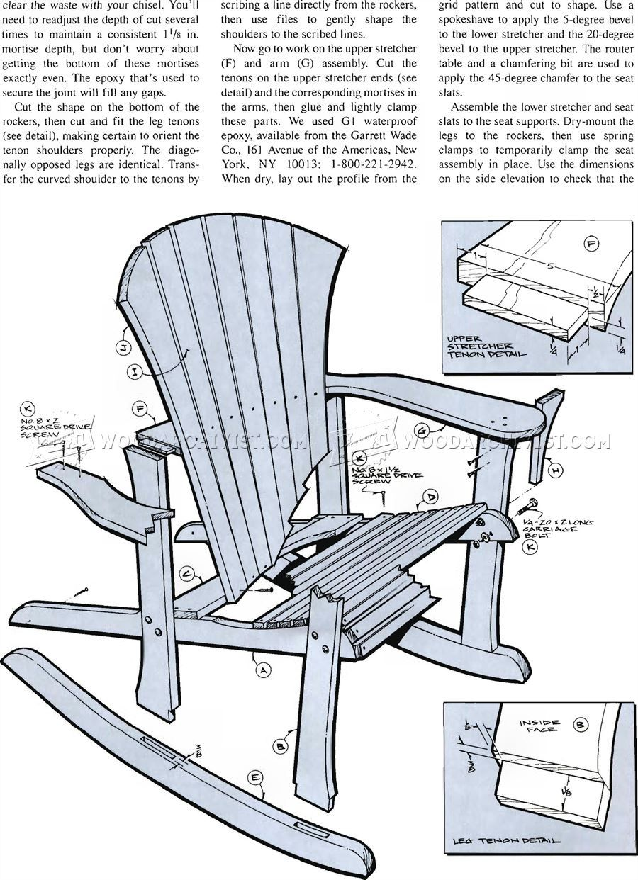 1860 Adirondack Rocking Chair Plans Outdoor Furniture Plans And