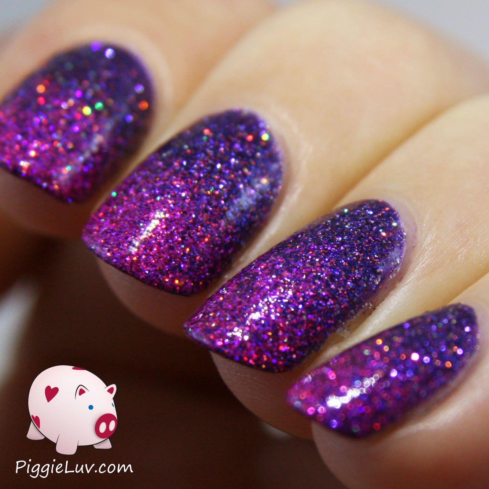 Piggieluv Rainbow Bubbles Nail Art: Glitter Gradient With Girly Bits