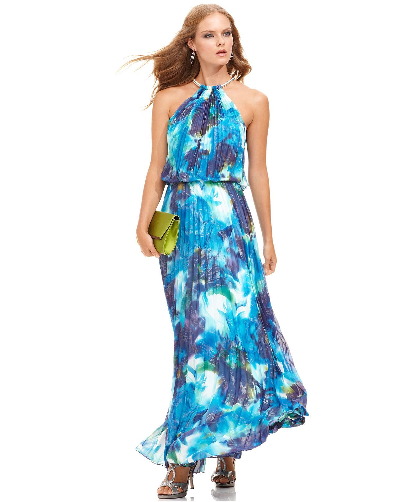 Xscape Dress, Sleeveless Floral-Print Pleated Halter Gown - Womens ...