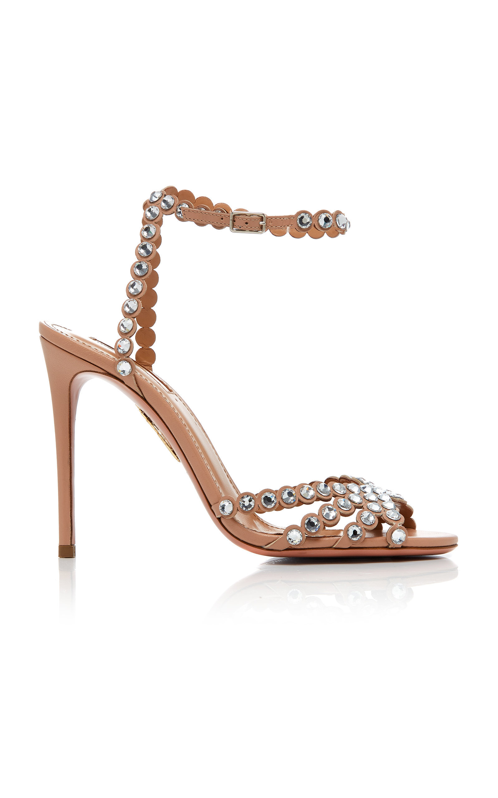 3f29c9812 Tequila Embellished Leather Sandals by AQUAZZURA Now Available on Moda  Operandi
