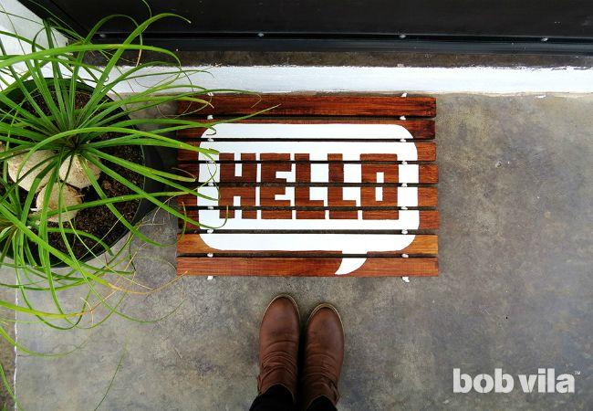 Diy Lite Make A Wood Slat Doormat For Almost No Money Door Mat Diy Easy Wood Projects Wood Crafts