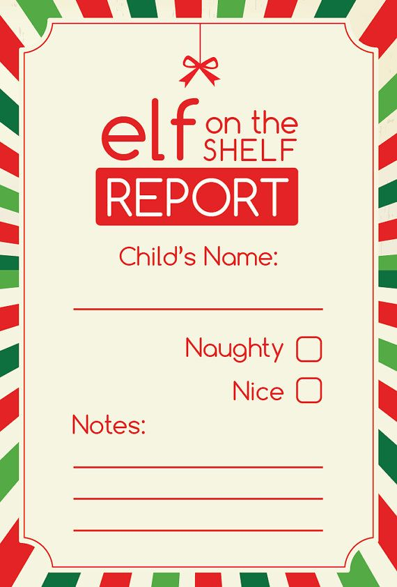 Elf Report Card Digital Printable Etsy Elf Report Card Elf On The Shelf Elf On Shelf Printables