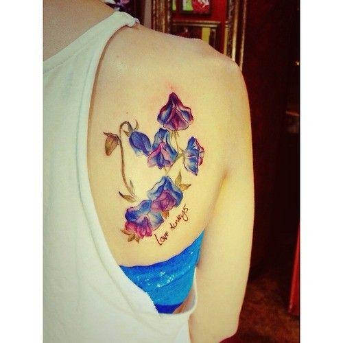 bluebells flower watercolor tattoo on back of shoulder watercolor tattoos pinterest. Black Bedroom Furniture Sets. Home Design Ideas