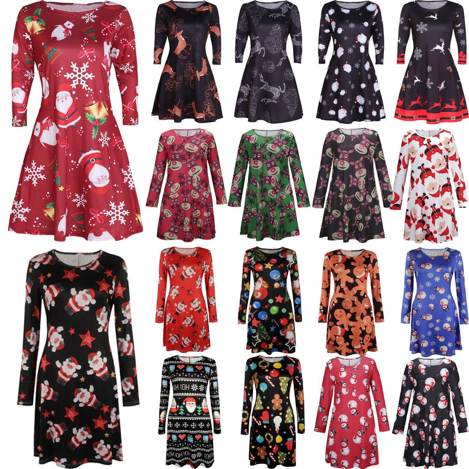 Damen Weihnachten Kleider Skaterkleid Swing Kleid Langarm Partykleid Minikleider Lange Kleider Ideas Of Lange Kleider Partykleid Swing Kleid Skater Kleid