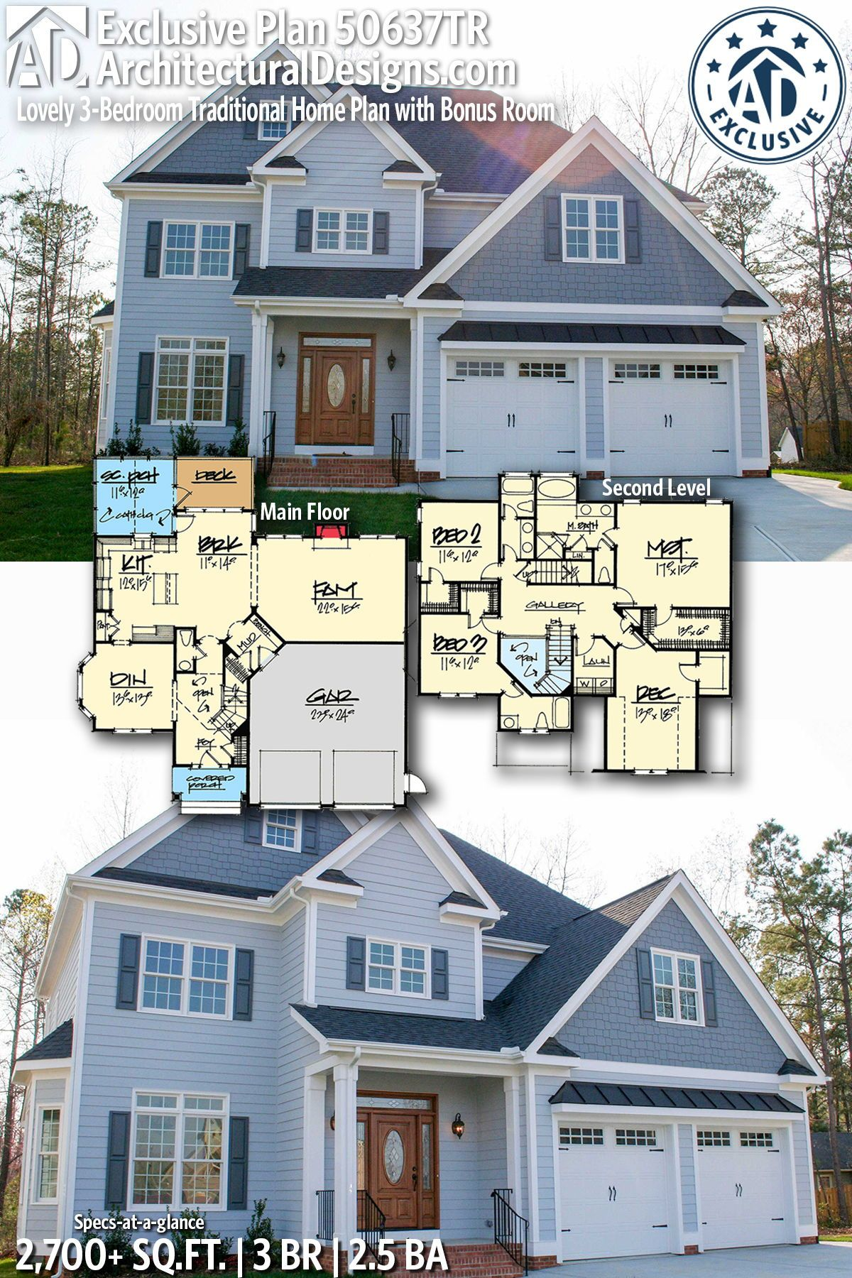 Plan 50637tr Lovely 3 Bedroom Traditional Home Plan With Bonus