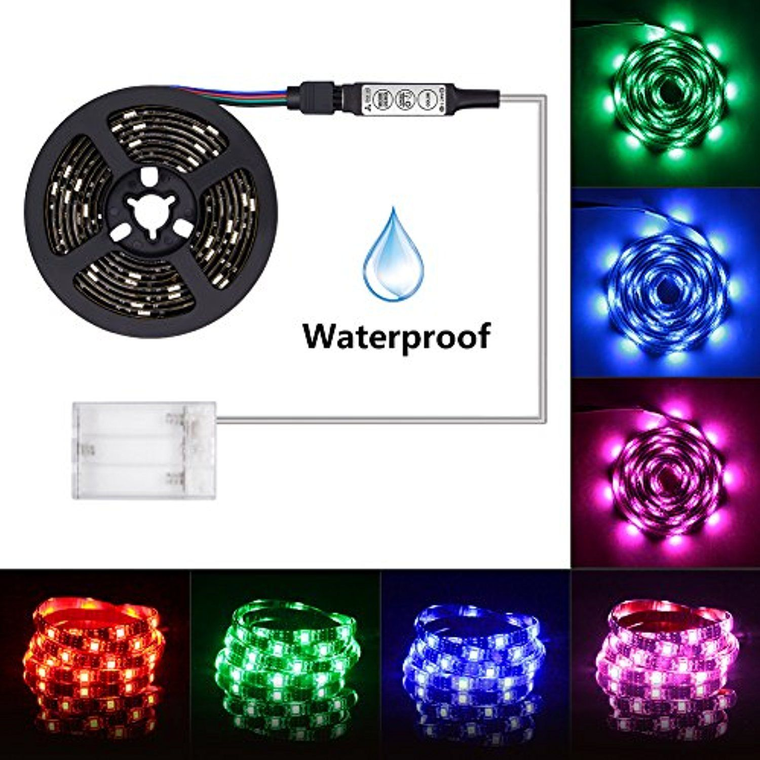 Led Light Strip Battery Powered Xyop 2m 6 6ft Waterproof Flexible Rgb Led Strip Lights Smd Color Changing Rope Lights Led Strip Lighting Rgb Led Strip Lights