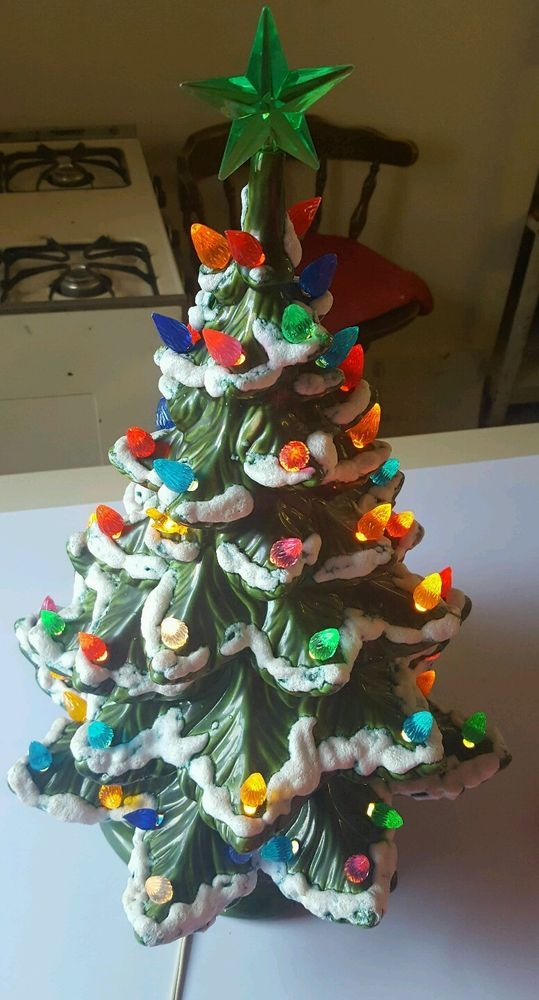 Vintage Atlantic 1974 Mold Light Up Ceramic Christmas Tree SNOWY